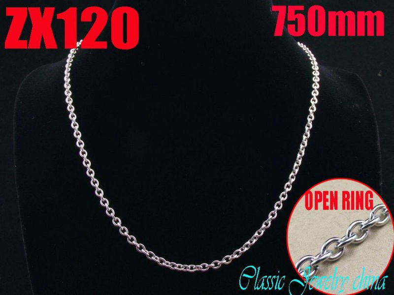 Wholesale - 500mm 19.5Inch 316L stainless steel 3mm open ring elliptic ring chain Jewelry man male necklace chains ZX120