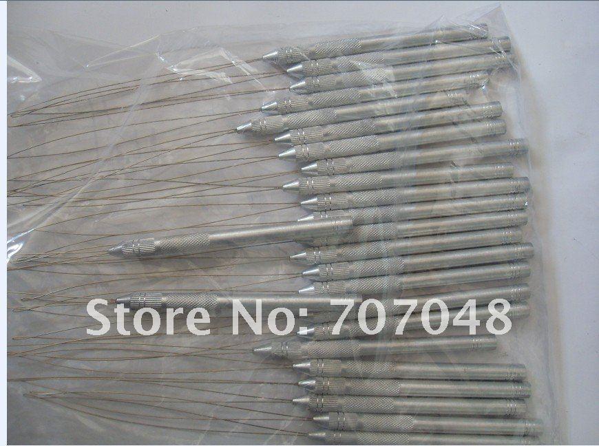 Aluminium Thread Hook Tool Needle Loop Micro Ring Hair Extensions beads+Free shipping