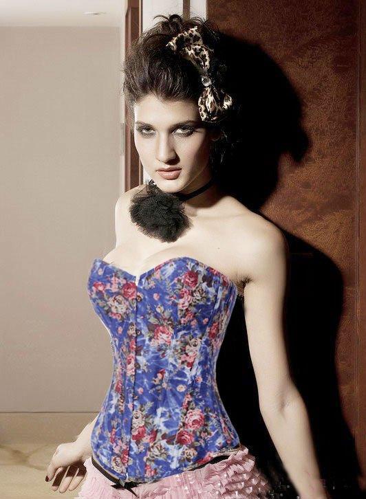 Free shipping!! Sexy Lingerie Floral Fantasy Burlesque Denim Corset Black 8910