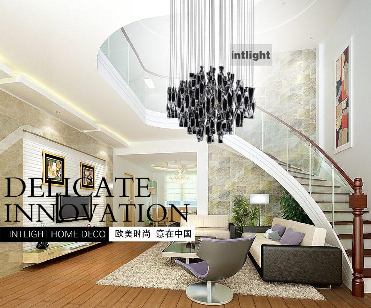 Hybrid Type Stair Large Chandelier Modern Glass Pendant Light Fashion Brief  Lighting Fixture Dining Room PL190 Brushed Nickel Pendant Light Pendent ...