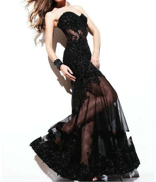 Stock Black Lace Bridal Wedding Dress Sweetheart Wedding Gown Formal ...