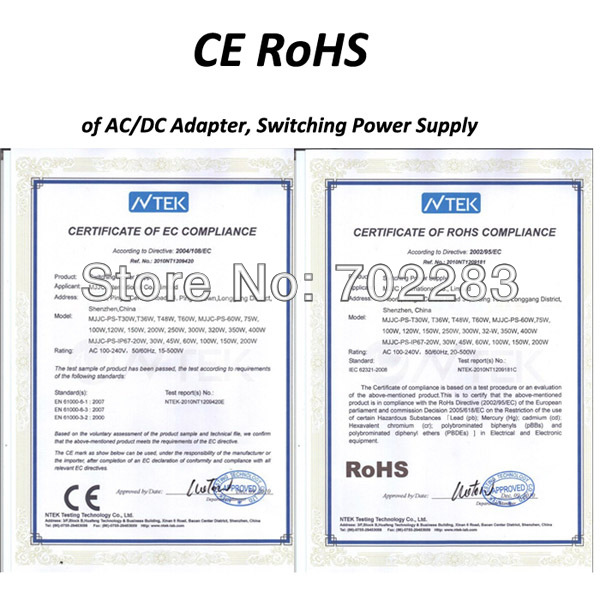 CE ROHS of Power SUpply