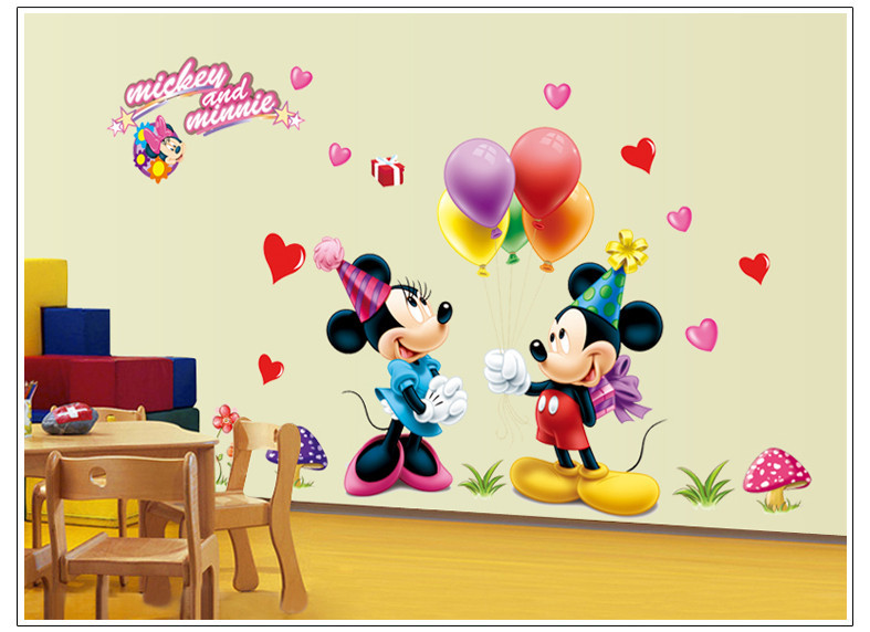 Removable PVC Large Cartoon Mickey Mouse Wall Sticker Minnie Mouse Room  Decor Wall Decal Bedroom Poster Wall Art Wallpapaer Kids