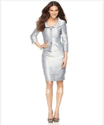 2017 Popular Collarless Jacket & Sleeveless Dress Blue Shiny Dress ...