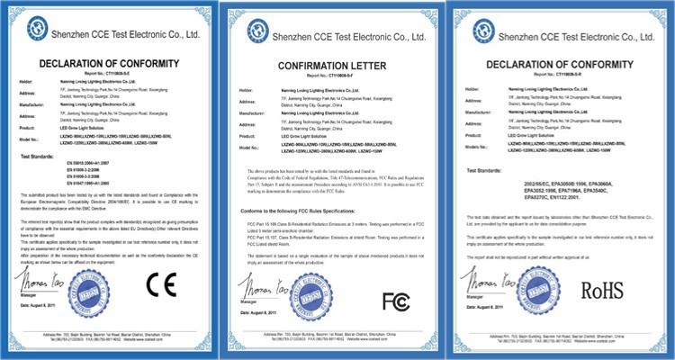 LED Grow light certificates