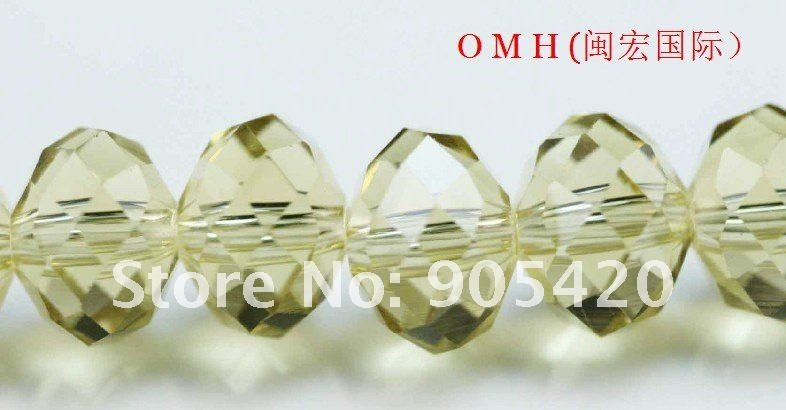 OMH wholesale! 150pcs/500pcs/packs Light yellow ball glass crystal rondelle spacer beads 8mm OMH108