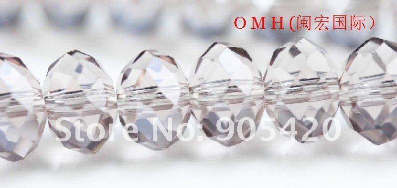 OMH wholesale! 300pcs packs purple ball glass crystal rondelle spacer beads 6mm OMH110