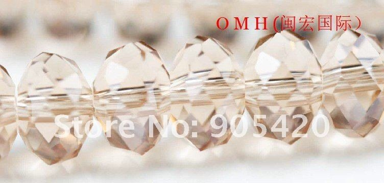 OMH wholesale! 150pcs/packs pink ball glass crystal rondelle spacer beads 8mm OMH111