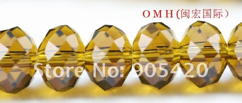 OMH wholesale! 300pcs/packs yellow ball glass crystal rondelle spacer beads 6mm OMH109