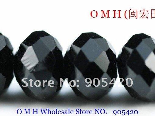 OMH wholesale! 150pcs/packs black ball glass crystal rondelle spacer beads 8mm OMH106