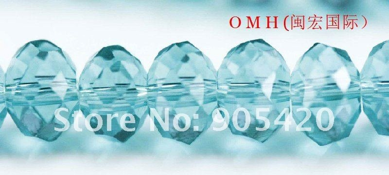 OMH wholesale! 300pcs/1200pcs/packs baby blue ball glass crystal rondelle spacer beads 6mm OMH107
