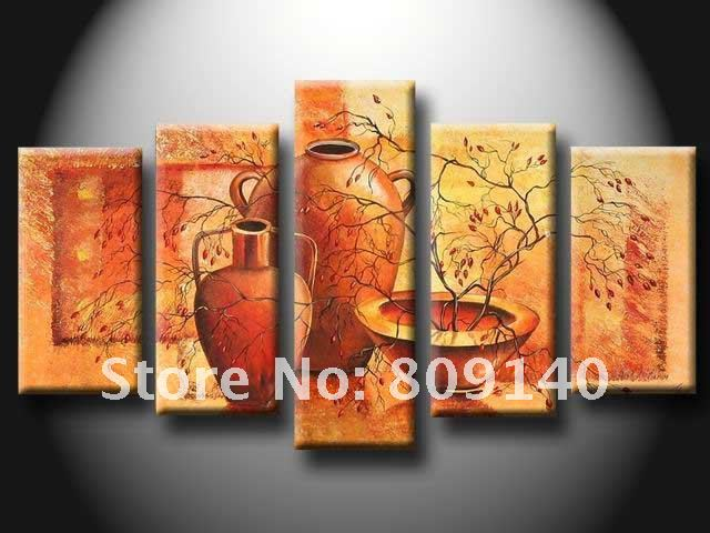 2016 Stretched Abstract Blue Black Red Oil Painting Canvas Ready ...