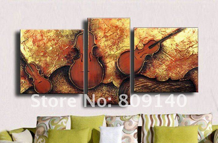 Oil Painting Canvas Abstract Violin Decorative Musical Instrument High Quality Handmade Home Office Bar Wall Art Decor Free Ship
