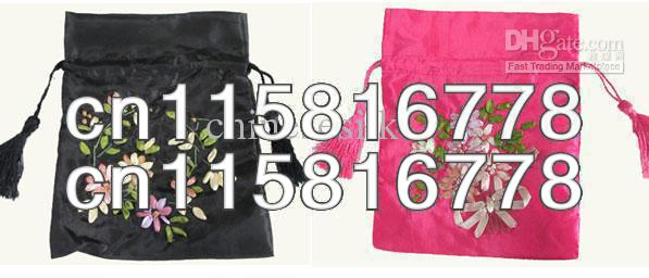 Empty Silk Tea Bags Hand Embroidered Wedding Candy Bag Drawstring Gift Pouches 50pcs/lot mix Free