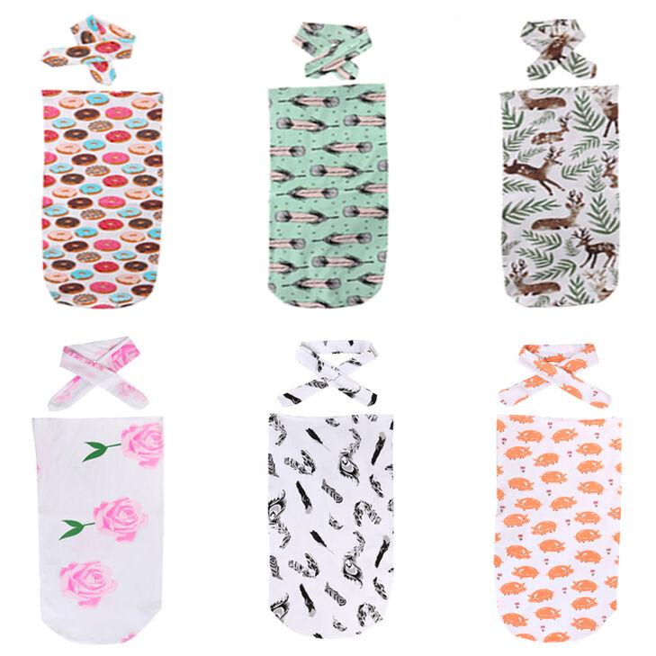 Newborn Baby Sleepwear Robes Stampa set 2 pezzi coperta di cotone Swaddle Dormire Asciugamani accappatoi doccia Bag Sleepwear Passeggino Wrap Outwea