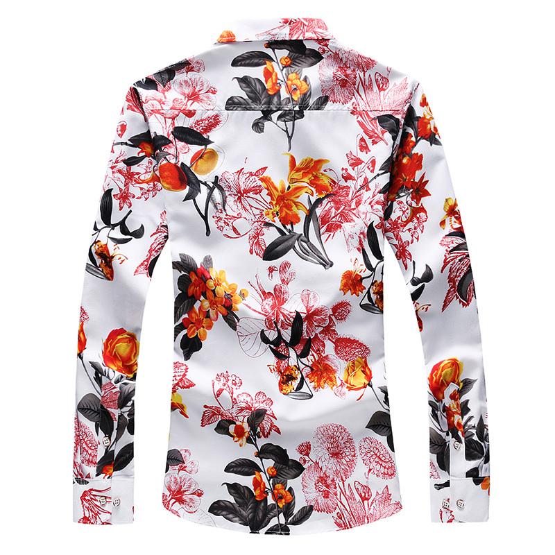 FLORAL hommes Chemise à manches longues en vrac japonais Streetwear Imprimer Mode 2020 Chemises hommes Vêtements pour hommes Chemises Fleur Plus Size M Asian
