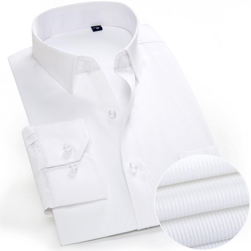 New llegaron para hombre de la marca de manga larga a rayas camisas de los hombres de camisas de vestir Ropa hombre inteligente Social de los hombres de blanco azul de empalme Hombre Ropa de Big TAM