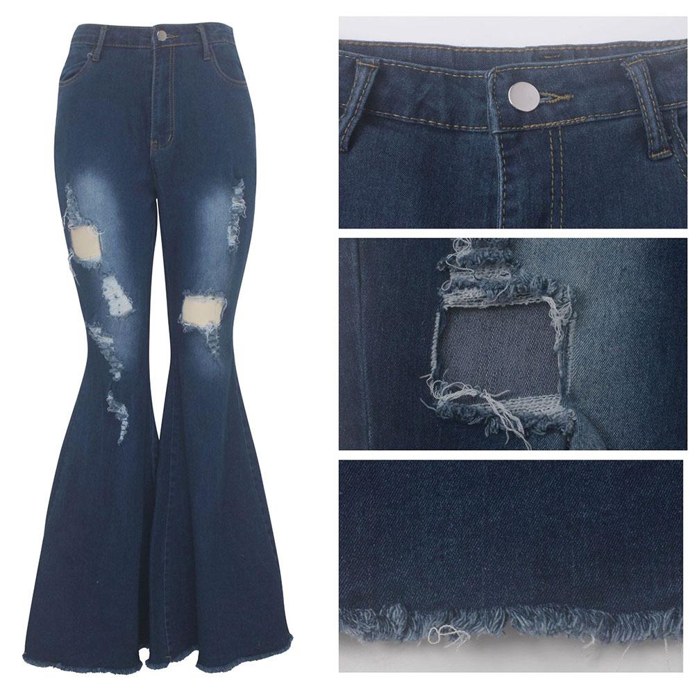 Nuove donne di parte inferiore di campana Jeans Pantaloni a vita alta elastico del ginocchio strappato Abbigliamento di Denim Pantaloni VN Donne Donne Jeans 68