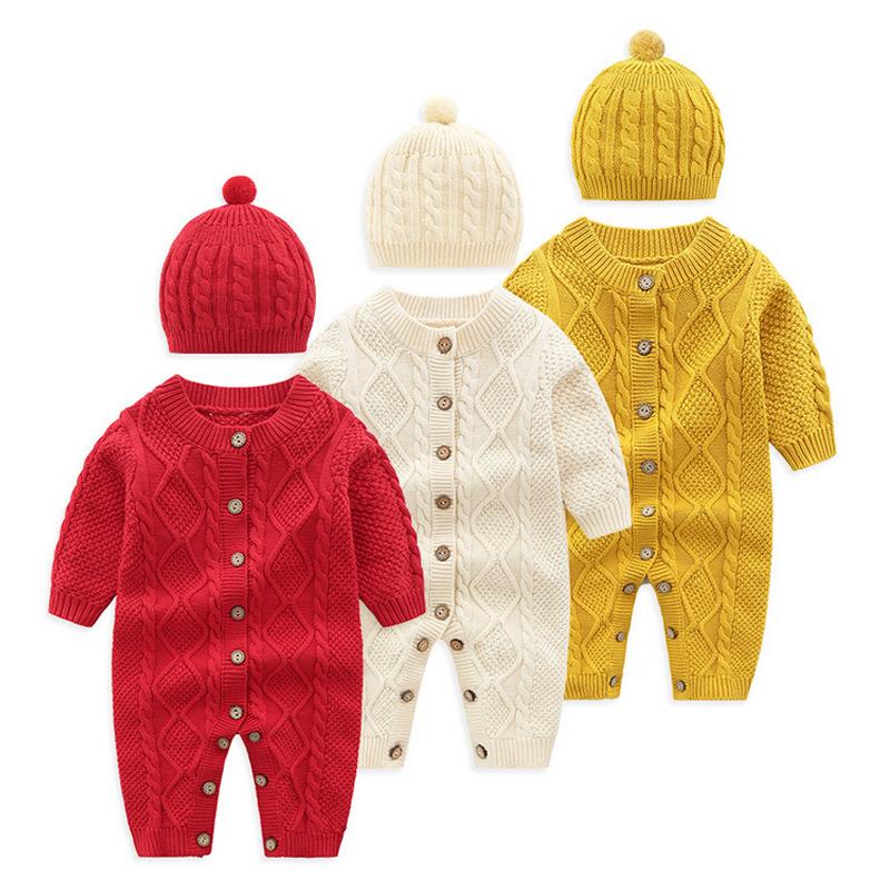 Pudcoco inverno recém-nascido da menina do menino roupa do bebê Botão da cor sólida camisola de manga longa Romper Jumpsuit Hat 2pcs Roupa Define bebê Crianças Cloth