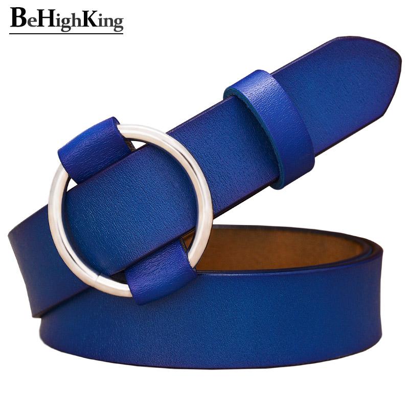 Anello di modo rotondo donna fibbia della cintura cinghie di cuoio genuine per le donne di qualità mucca cinturino pelle femminile Cinture Cinture Accessori La guaina per jean