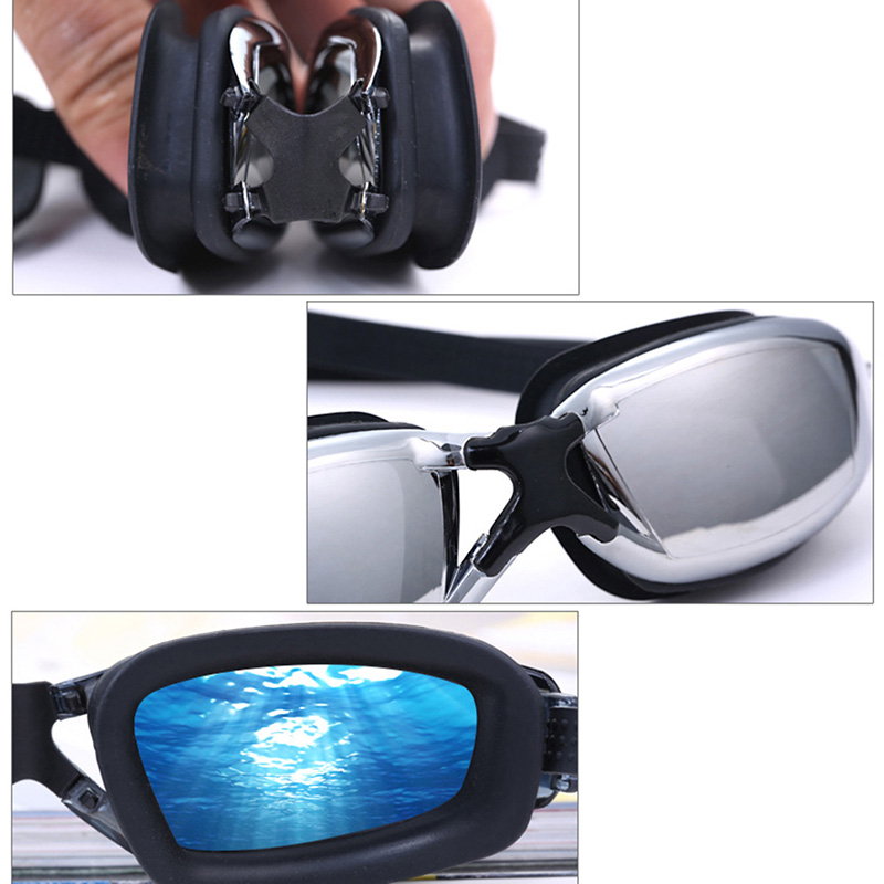Professional Adult Large frame plating Waterproof Swimming Water Sports AntiFog UV Protect Swim Glasses Swimming Goggles Beach Pool