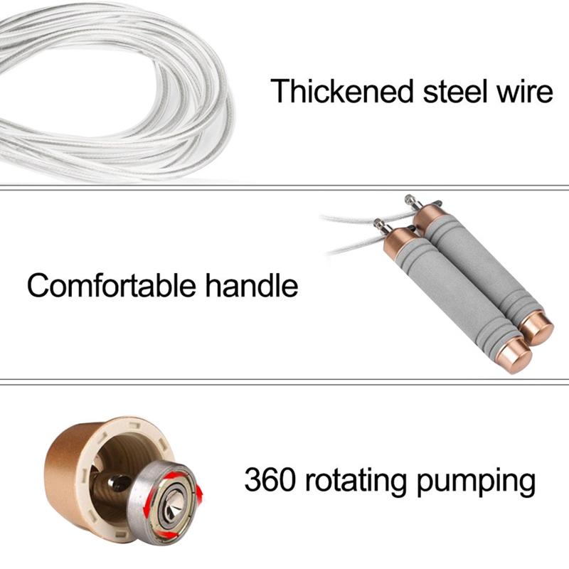 Jump Rope Bequeme Schaumstoffgriffe NonTangle Springseil PVC Stahlkabel für Übung Ausarbeiten Fitnessgeräte Fitness Supplies Leng
