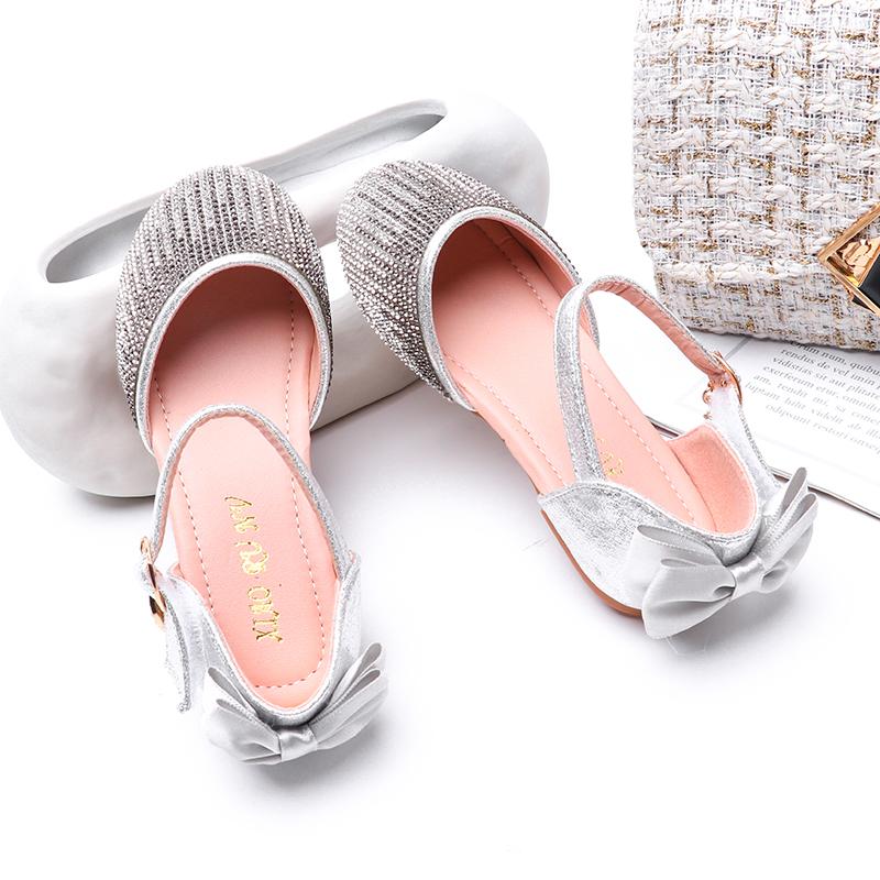 Summer Girls Sandals Shoes Moda strass Bowtie bambino sandali della ragazza delle ragazze dei bambini Principessa piatto morbido partito pattini inferiori SJD033
