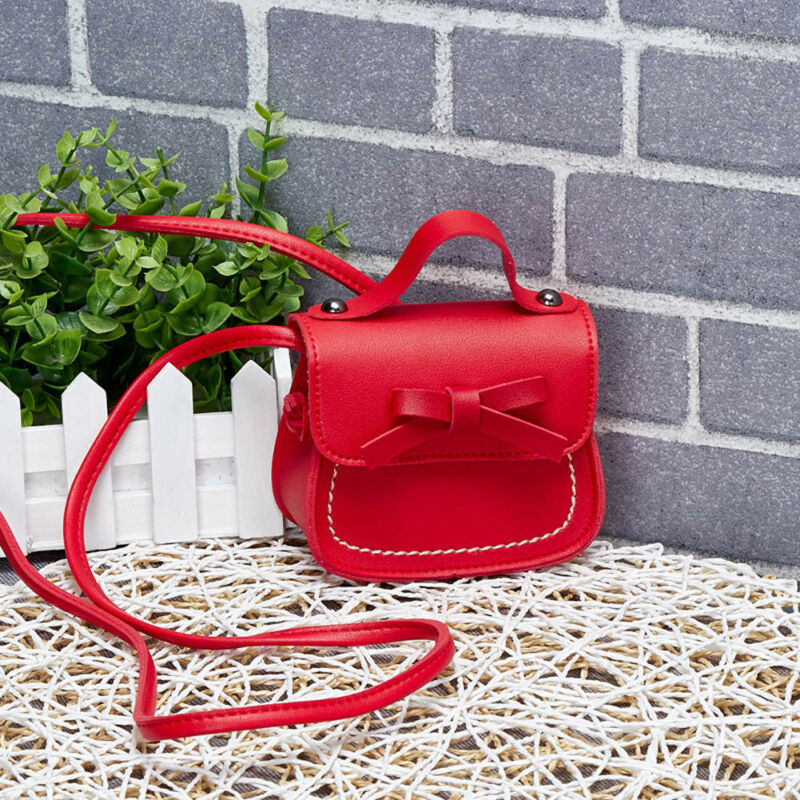 Sweet Kid baby Girl Bow Knot Shoulder Bag Small Bow Messenger Bag Purses Cross Body Sling PU Leather Wallet Handbag 7 colors Plush Backpack