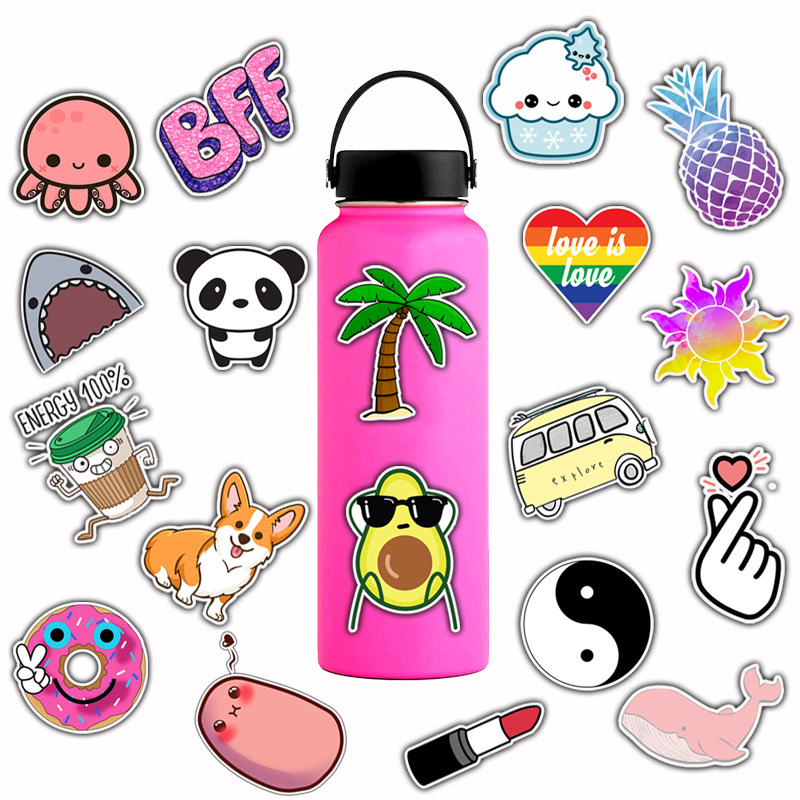 50pcs/Pack Cartoon Other Toys Waterproof Animal Fruit Graffiti Stickers Skateboard Suitcase Guitar Girls Funny Sticker Kids Classic Toy