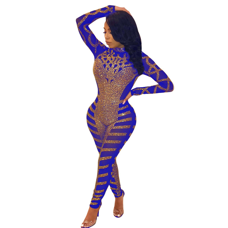 Diamanti Adogirl Sparkle asimmetriche Sheer Mesh tuta Mock Neck manica lunga donne sexy Notte clothin delle tute Pagliaccetti Donne Donne