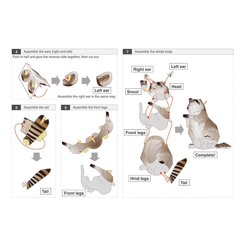Енот Процион Lotor Складные Кирпич Блоки Блоки Модель здания Режущий Мини Симпатичные 3D Бумажная модель Papercraft Pet животных рисунок DIY Дети