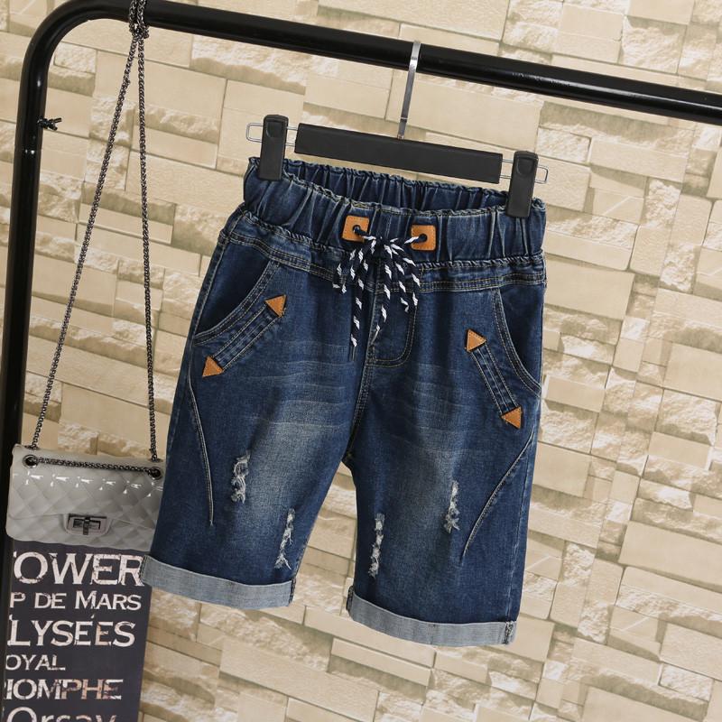 2019 Plus size 4XL 5XL Sommer zerrissene Jeans-kurze Hosen-Frauen-Damenbekleidung Women Casual Lace Up Capris Damen breite Bein-Denim-Jeans-Hare