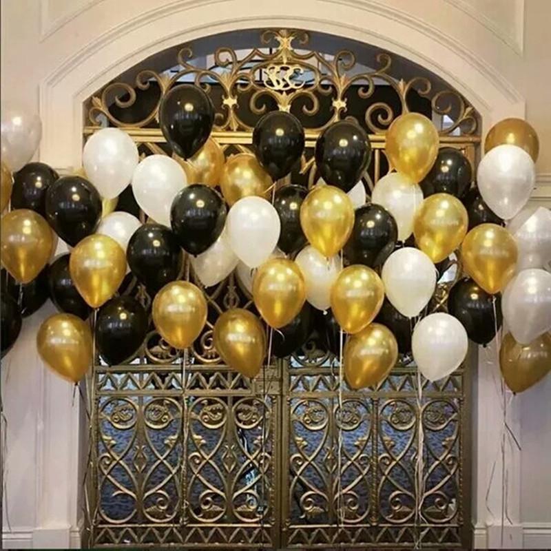 15pcslot 10 pollici Oro Nero Bianco Lattice Elio palloncini matrimonio Baby Shower compleanno evento festivo feste decorazione del partito Forniture K