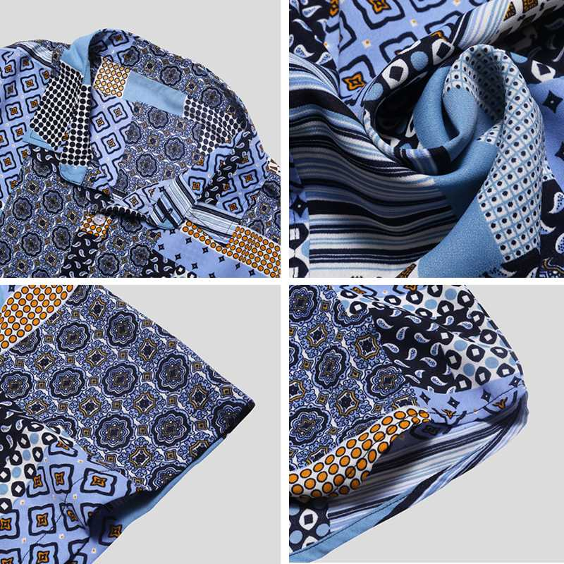 Männer Strand Printed Hemd lose Breathferien Ethnic Kurzarmshirts beiläufige Hemden Herren Hemden Herrenbekleidung Sommer Street Hawa