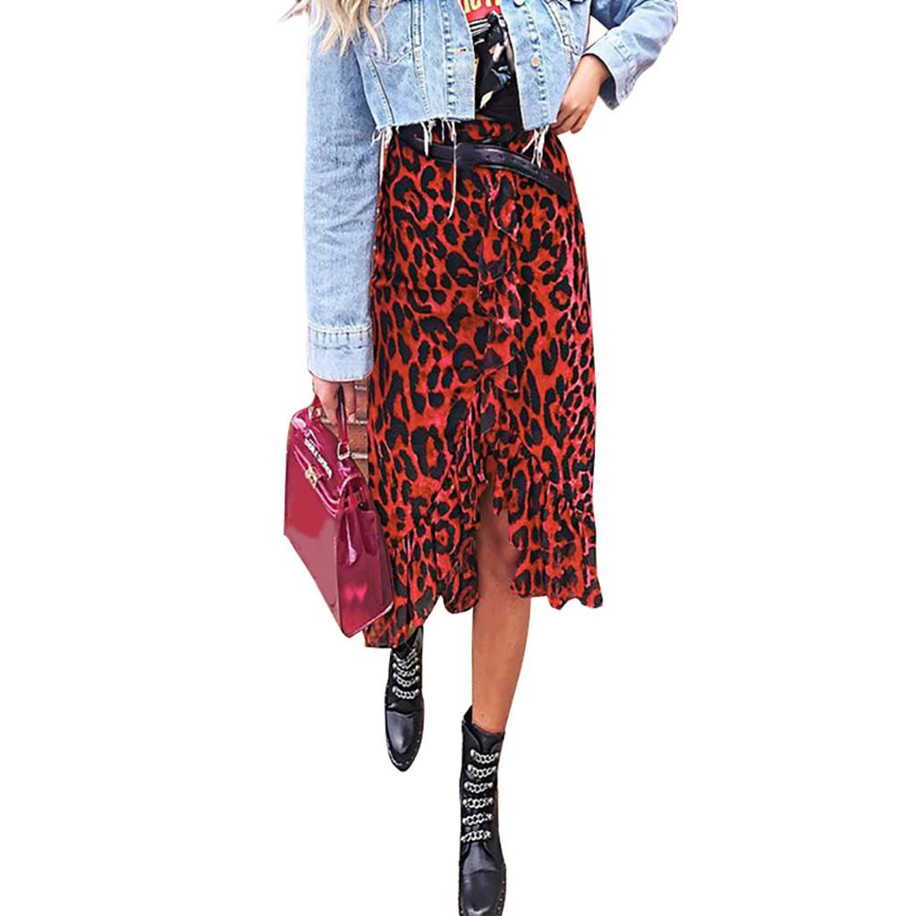 Leopard-Druck-Weinlese-lange beiläufige hohe Taille Röcke Damenbekleidung Faltenrock knielange Asymmetrische Büro-Damen Rote koreanischen s Damen