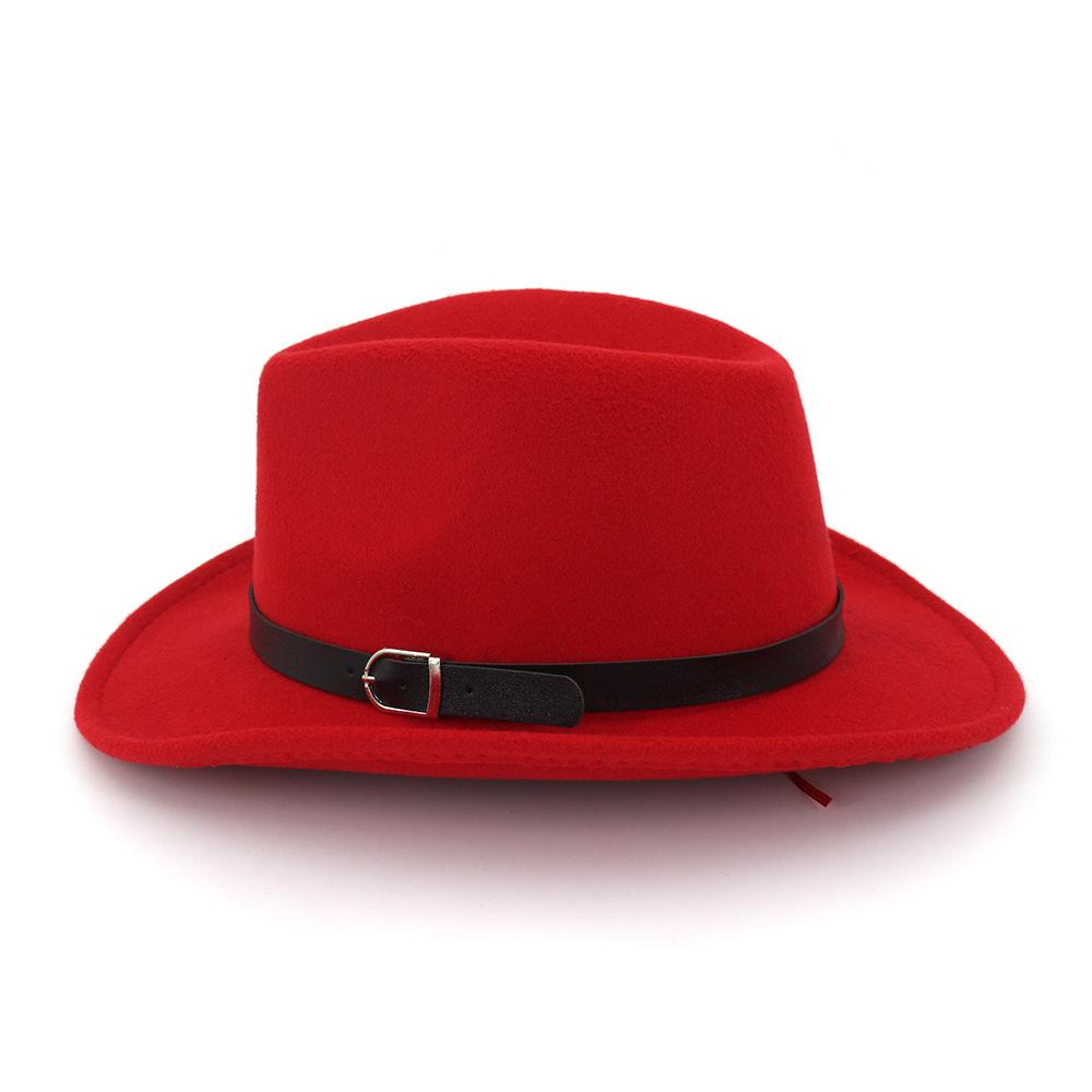 Войлок Western Cowboy шапки шапки, шарфы Перчатки Шляпы Джаз Мужчины Женщины козырька Cap Пряжка Женщины Путешествия Cap Большой Брим Западная Шляпы CHAP