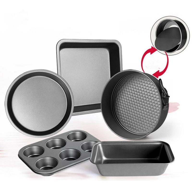 5Piece Karbon Çelik Kalıp Seti Fırın Ev Kek Bisküvi Pişirme Tepsi Pizza Bulaşık Mutfak Bakeware Mutfak, Yemek Bar Aracı Pişirme Kalıp