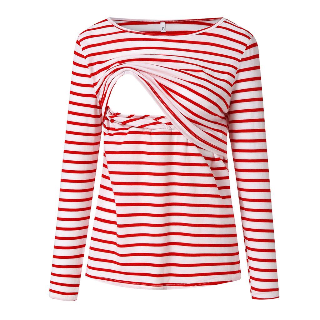 donne vestiti MUQGEW grandi dimensioni Womens Nursing Stripe maniche lunghe girocollo L'allattamento al seno camicetta Maternità Abbigliamento Maternità Supplies Sai