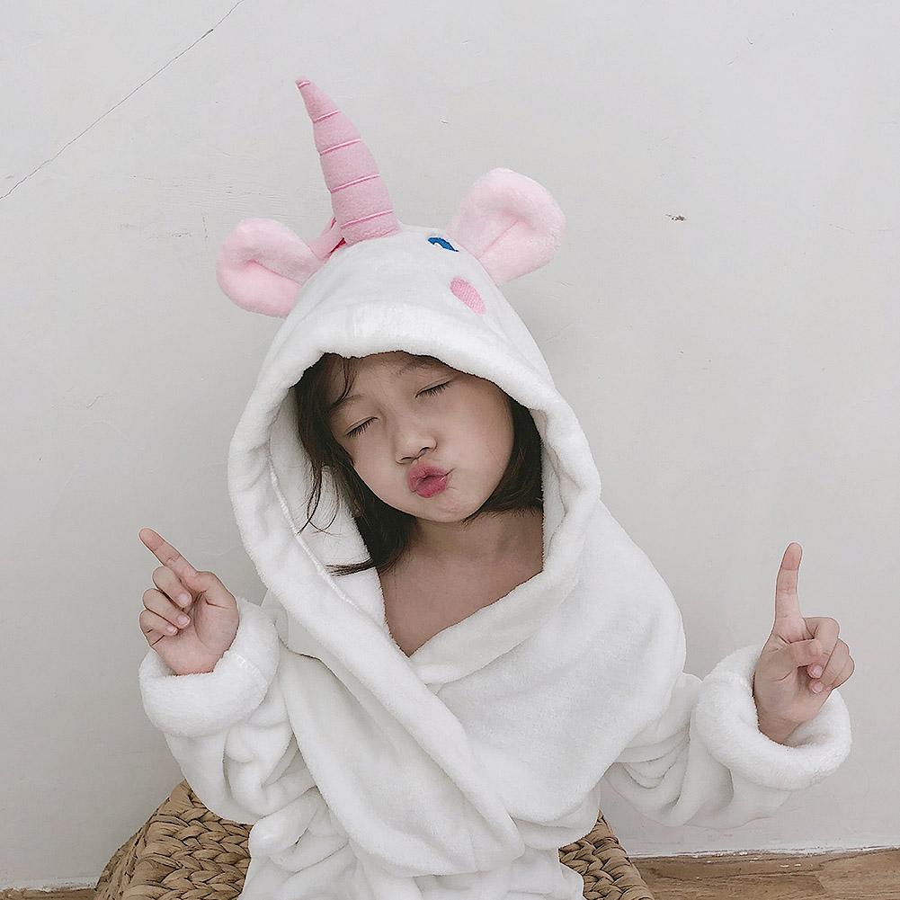 Karikatür Unicorn Bebek Fanila Robe Pijama Bebek Çocuk Giyim Bornoz Kız Çocuk Pijama Kapşonlu Pijama Kıvam Ev Giyim için