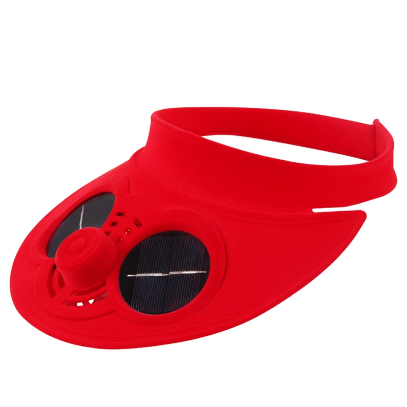 Red Summer Sport Outdoor Hat Cap With Solar Sun Power Cooling Fan Bicycling Climbing Small Air Conditioning Fitness Equipments Fitness Suppl