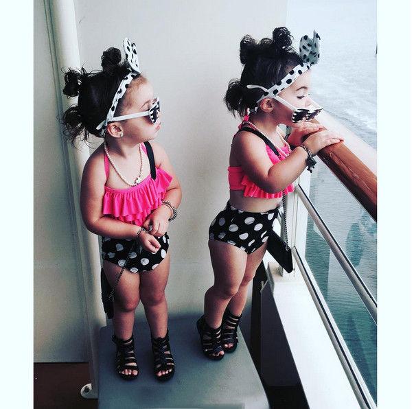 Yaz Çocuk Bebek Kız Mayo Plaj ekipmanları Su Sporları Polka Dot Bikini Ruffles Halter Şort Kafa Mayo Beachwear'a Tops ayarlar