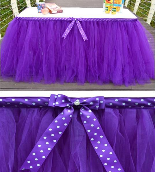 새로운 arriva 아름다운 얇은 명주 그물 투투 표 스커트 어린이 아기 표 직물 홈 섬유 샤워 생일 파티 웨딩 장식 물방울 핑크 옐로우 블루 도트