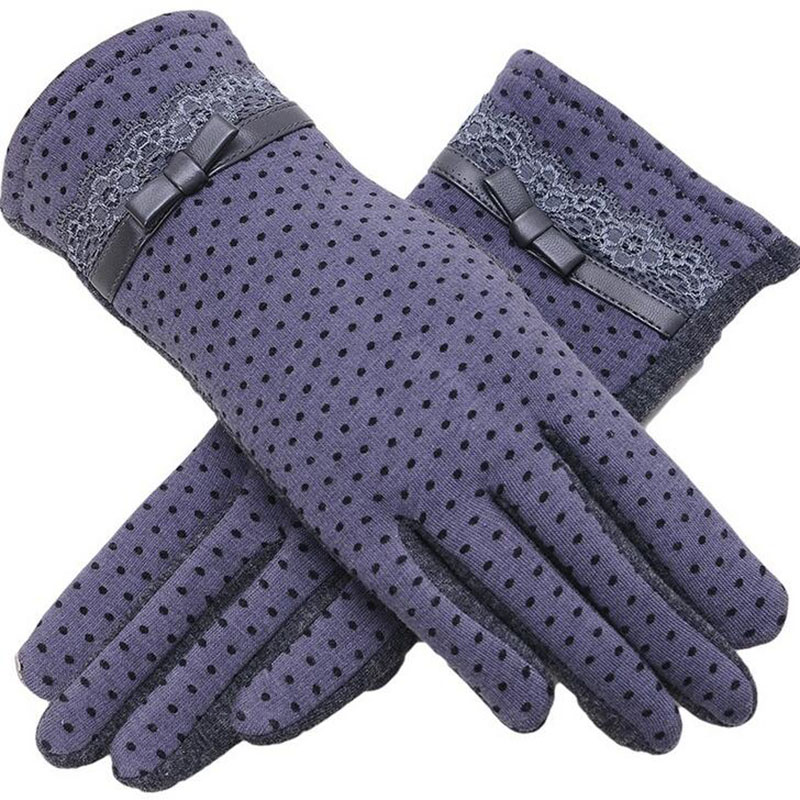 Fashion Female Winter Warm Women Outdoor Sports Touch Screen Plus Cashmere Lady Bow & Mittens Hats, Scarves & Gloves Lace Cotton Full Finger