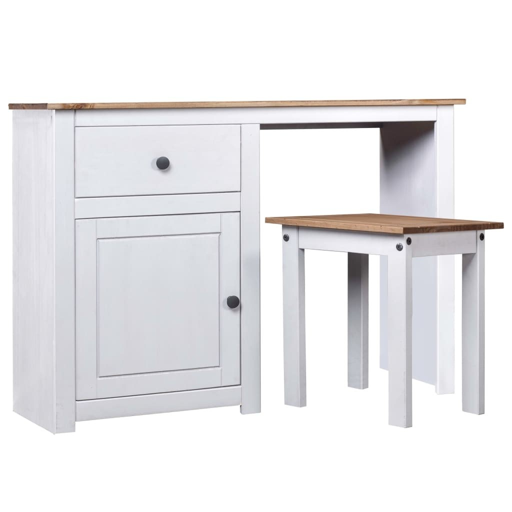 2 Piece Dressing Home Table Set White Solid Pine Wood Panama Range 2 Piece Dressing Home Furniture Furniture Table Set White Solid Pine Wood