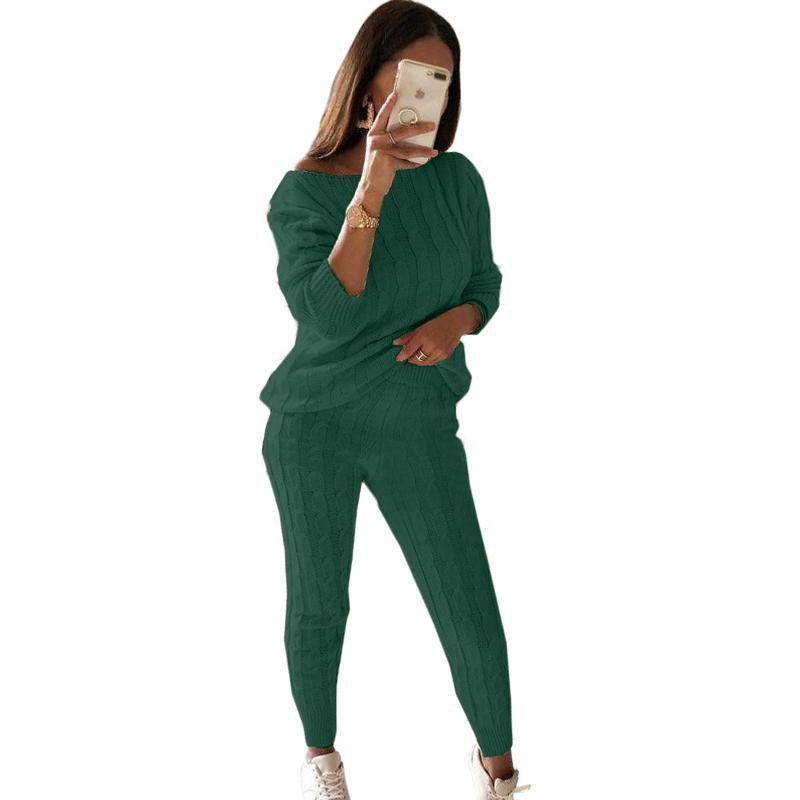 2020 İki adet Casual Uzun Kollu Sonbahar Kış Örme Triko Kazak Tops Ve Yüksek Bel Uzun Pantolon Eşofman Setleri