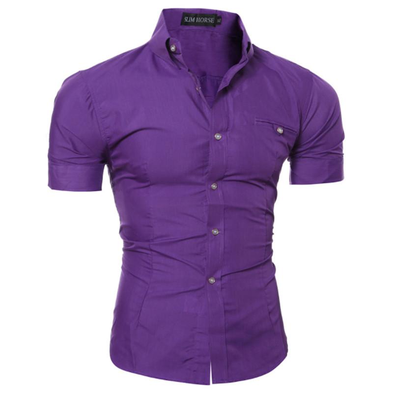 Erkekler Slim Fit Gömlek Kısa Kol Şık Biçimsel Üst Erkek Gömlek Erkek Clothings Erkekler Rasgele Kısa Kollu Gömlek düğmeleri Üst Giyim Katı Pl