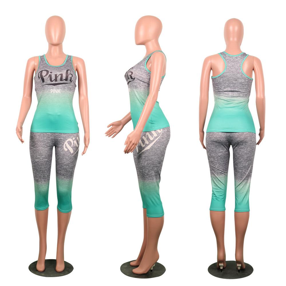 2019 pantaloni delle signore di modo casuale 2 pezzo donne caldo stabilito lettere stampate Oneck maniche caviglia aderente tuta Set