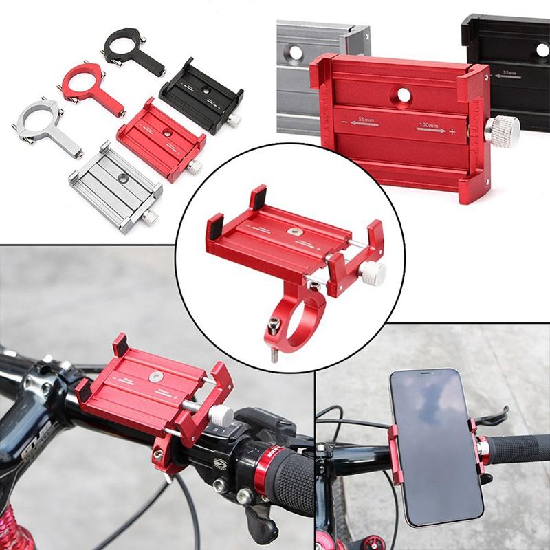 Acessórios de alumínio Bicicleta Ciclismo titular para 3562 Inch Smartphone ajustável Telefone Suporte Gps bicicleta Suporte de montagem Bracket Preto