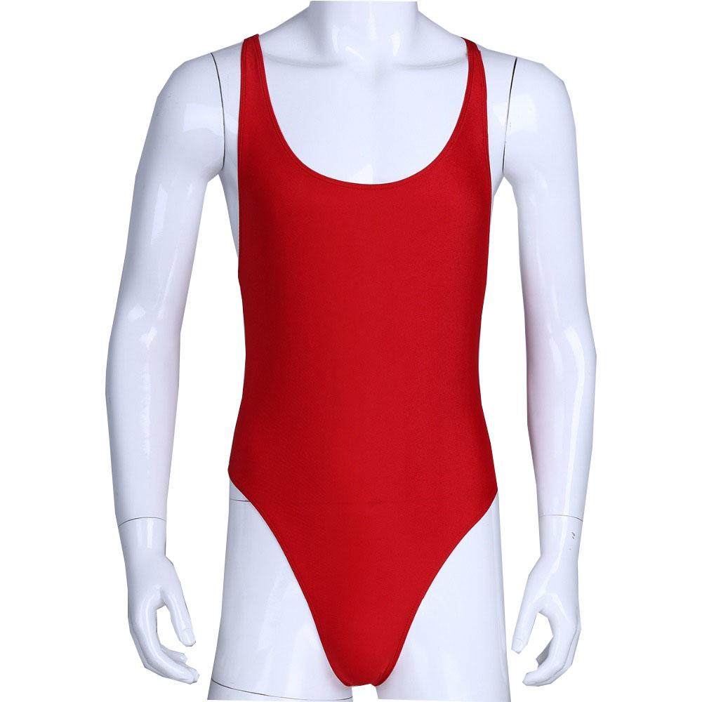 MSemis Mens Stretchy Mankini Bodysuit Thong Wrestling Singlet Lingerie Leotard Underwear