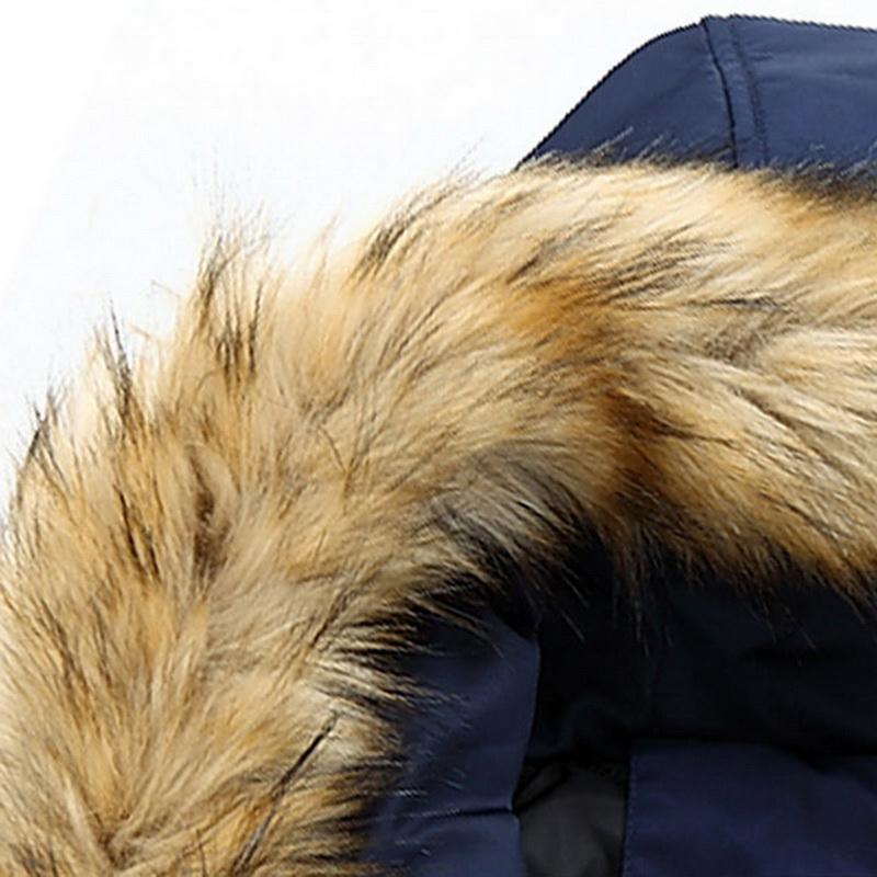 Su geçirmez Park Outwear Erkekler Marka Kış Kabanlar Coats Giyim Faux Kürk Yaka Uzun Kalın Pamuk Parkas Ceket Coat Kapşonlu Cepler